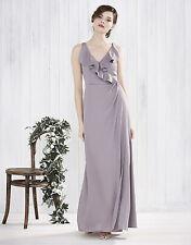 New Monsoon Fern Frill Mink Grey Maxi Evening Dress Size 12 BNWT £119 Wedding