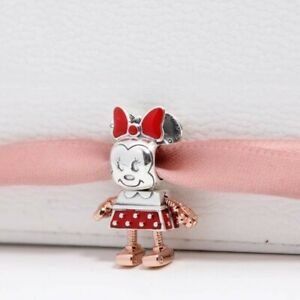 Authentic Pandora Disney Robot Minnie Mouse Charm Silver Rose Gold Collection