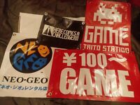 (4)Small Arcade BANNERS (TAITO, 100 YEN, NEO GEO,& KOF Here Comes A Challenger)