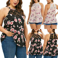 Fashion Womens Plus Size Sleeveless Lace Floral Printed T-shirt Tank Tops Vest