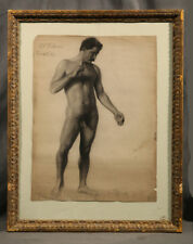 Realistic Athletic Nude Male Figure Black & White Charcoal (American)