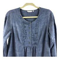 J Jill XS Blue Denim Embroidered Long Sleeve Tunic Shirt peasant boho Cotton