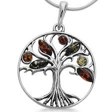 Bernstein 925Silber Anhänger Baum des Lebens Lebensbaum Weltbaum Kettenanhänger
