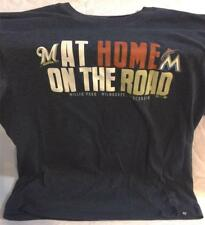 """MIAMI MARLINS """"AT HOME ON THE ROAD"""" MILWAUKEE BREWERS '47 TEE T-SHIRT MED ~ NEW"""