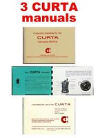 3 Curta Calculator Instruction manuals (package deal of 3 different prints)