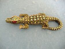 Pin With Green Crystals Gold Toned Alligator Brooch Or