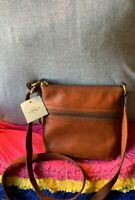 Fossil Voyager Brown Cross Grain Leather Zip Handbag Shoulder Bag Crossbody