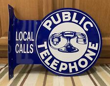 Public Telephone Local Calls Vintage Style Flange Garage Bar Pub Metal Signs