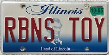 GENUINE American Illinois Robins Toy Vanity USA License Number Plate RBNS TOY