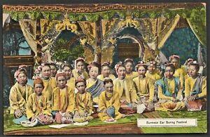 BURMA postcard Burmese Ear-Boring Festival group
