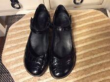 Aravon women New Balance Shoe Black croc leather Heel Wedge Strappy Mary Jane 7B