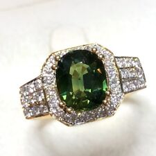 Authentic 2.72TCW Green Sapphire Diamond 18K Yellow Gold Ring Natural Engagement