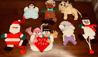 VTG Lot Of 7 Handmade Needlepoint Plastic Canvas Holiday Easter Ornaments