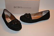 BCBGeneration Calimero Womens Size 8.5 Black Moc Kid Suede Flats Shoes $89