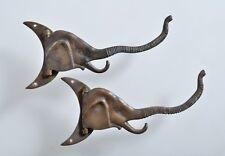 Antique Pair Elephant and Crescent Swivel Moon Hooks Hangers Bronze Brass Asian
