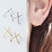 Solid 925 Sterling Silver Cross Line Stud Cuff Huggie Earrings Jewellery 2 Tones