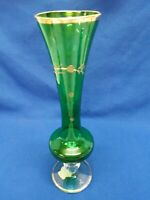Hand Blown Handmade Green Glass Bud Vase With Lots Of Gold Trim And Decoration