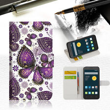 Purple Butterfly Wallet Case Cover For Telstra Alcatel Pixi Vibe -- A017