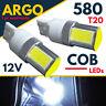 T20 W21/5w Sidelight 580 Led Bulbs Xenon White Drl Filament Cob 582 7443 12v