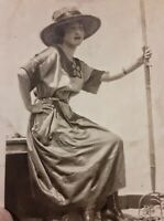 Vintage 1910's Photo of a Woman Wearing Nice Dress & Hat Sits with Pitchfork 💥