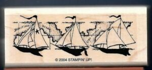 NEW SAILBOAT High SEA LIFE Ocean Map Nautical Stampin' Up! SET SAIL RUBBER STAMP