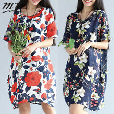8-22 Plus Size Women Loose Floral Print Boho Beach Party Retro Mini Dress Tunic