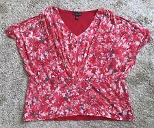 DANA BUCHMAN Womens Plus Size 2X Batwing Gathered Front Blouse Shirt Peasant