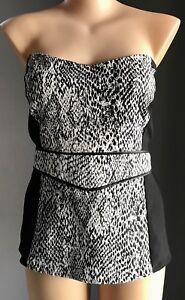 CITY CHIC Black & White Snake Print Strapless Top Plus Size XL(22). RRP$79.95