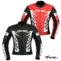 Pro First Mens Motorbike Genuine Leather Motorcycle Armour Jacket Bikers Flag