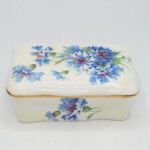 Vtg Hammersley Porcelain Blue Flower Lidded Floral Trinket Box Dresser Jar