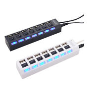 7-Port USB 2.0 Hub with High Speed Adapter Cable ON/OFF Switch for Laptop PC