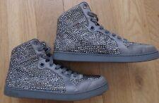 Gucci - Men's Platinum/Silver Poli Satin Crystal Embellished Lace Up High Top