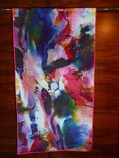 Crepe de chine long silk scarf Print of Lijiin multicoloured abstract design NEW