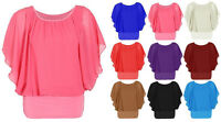 New Womens Over Size 2 in 1 Chiffon Ladies Blouse Batwing Tops mesh Size UK 8-20