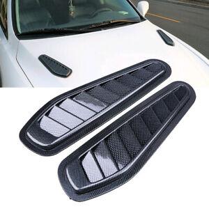 2× Car Decorative Air Flow Intake Hood Scoop Vent Bonnet Cover Carbon Universal