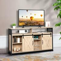 "TV Stand Media Center Console Cabinet Sliding Barn Door for TV's 55"" White Oak"