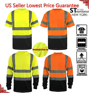 Hi Vis T Shirt ANSI Class 3 Reflective Safety HIGH VISIBILITY Black Bottom 34