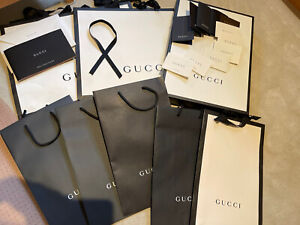 Lot Gucci black white large medium bags box sleeves catalog certificate booklet