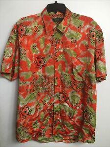 vintage SEVE BALLASTEROS Japanese silk shirt orange green. Legendary Masters  LG