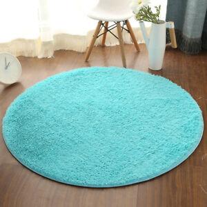 Round Fluffy Rug Carpet Non Slip Soft Area Rugs Washable Bathroom Room Floor Mat
