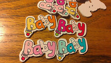 30 Extra Large Cartoon Word Baby With Dummy Buttons 35mm Orange Red Pink & Blue
