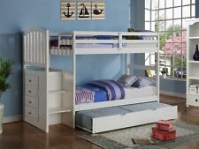 Classic White Twin/Twin, Twin/Full Bunk Bed for Girls, Stairs w/ Storage Drawers