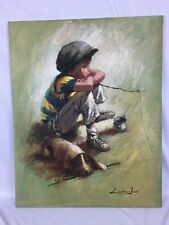 Original Signed Barry LEIGHTON JONES Oil Painting URCHIN CHILD w DOG , 30 x 24