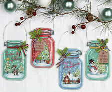 Cross Stitch Kit ~ Dimensions Set of 4 Christmas Jars Ornaments #70-08964