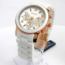 Geneva White Rose Gold Silicon Matte Bracelet Women's Watch