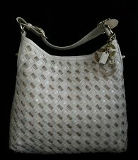 COACH Ltd Ed PEYTON CREAMY WOVEN LEATHER LG SHOULDER HOBO TOTE BAG PURSE Rare!