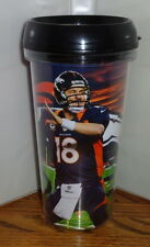 PEYTON MANNING TRAVEL MUG. 16 oz. DENVER BRONCOS. SNAP ON TOP. TUMBLER MUG.