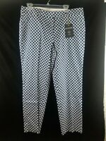 NWT ZAC AND RACHEL NAVY/OFF WHITE SLIM ANKLE PANT SIZE 12