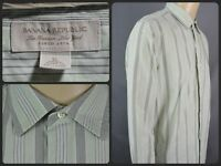 Banana Republic Green Striped L/S Btn Front Dress Shirt Mens XL Classic Fit
