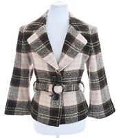 CAbi Italian Cloth ITALY Woven Wool Tweed Belted Blazer Jacket Plaid Womens Sz 8